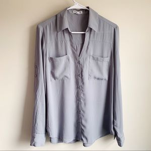 Express The Portofino Shirt Gray Career Blouse
